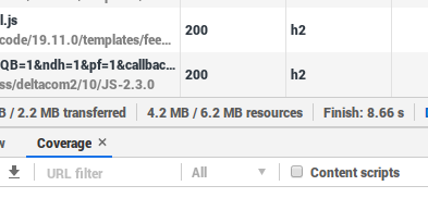 Network tab can show JS resources size and transfers