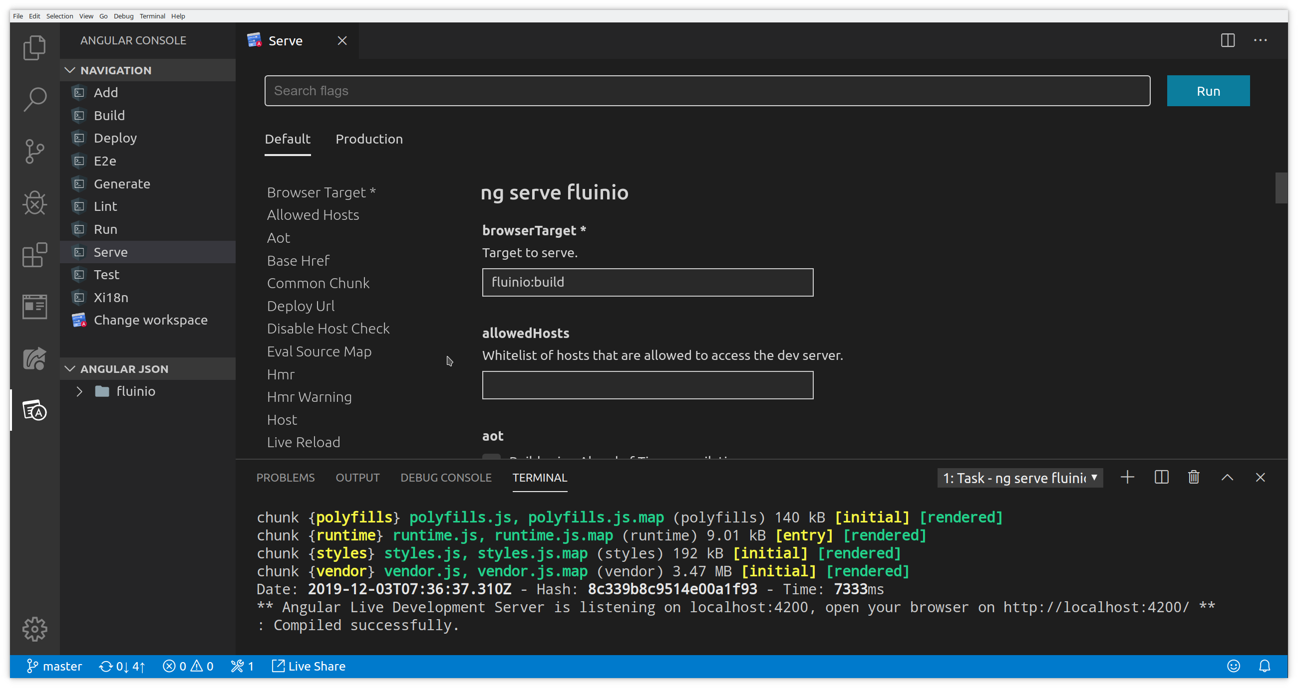 Angular Console in VS Code Screenshot