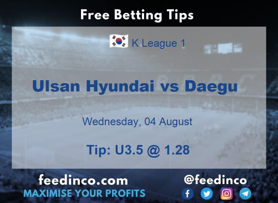 Ulsan Hyundai vs Daegu Prediction