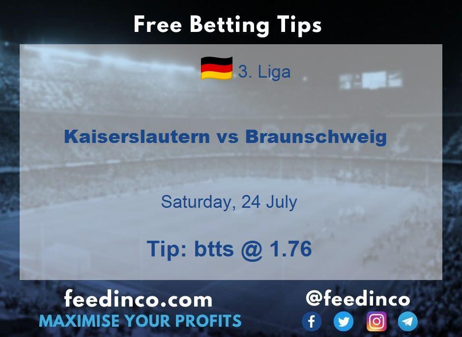 Kaiserslautern vs Braunschweig Prediction