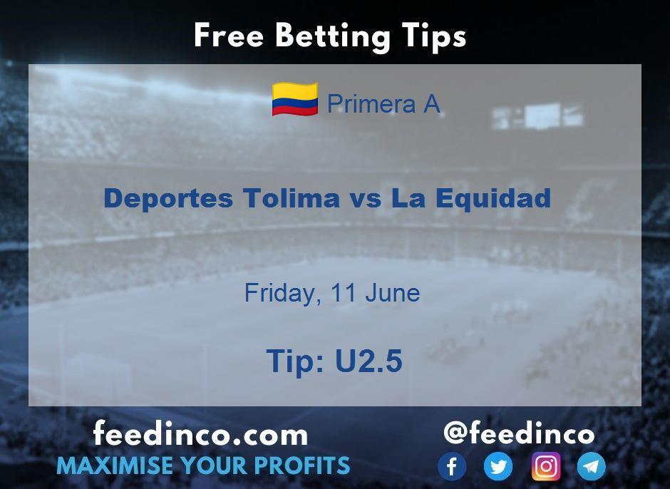 Deportes Tolima vs La Equidad Prediction