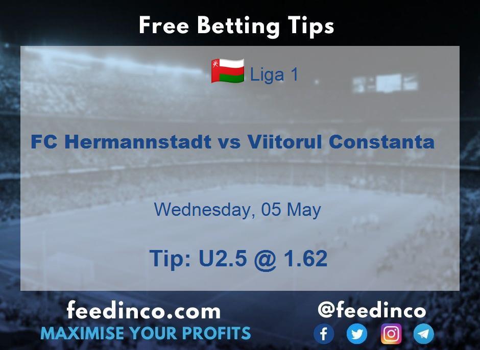FC Hermannstadt vs Viitorul Constanta Prediction