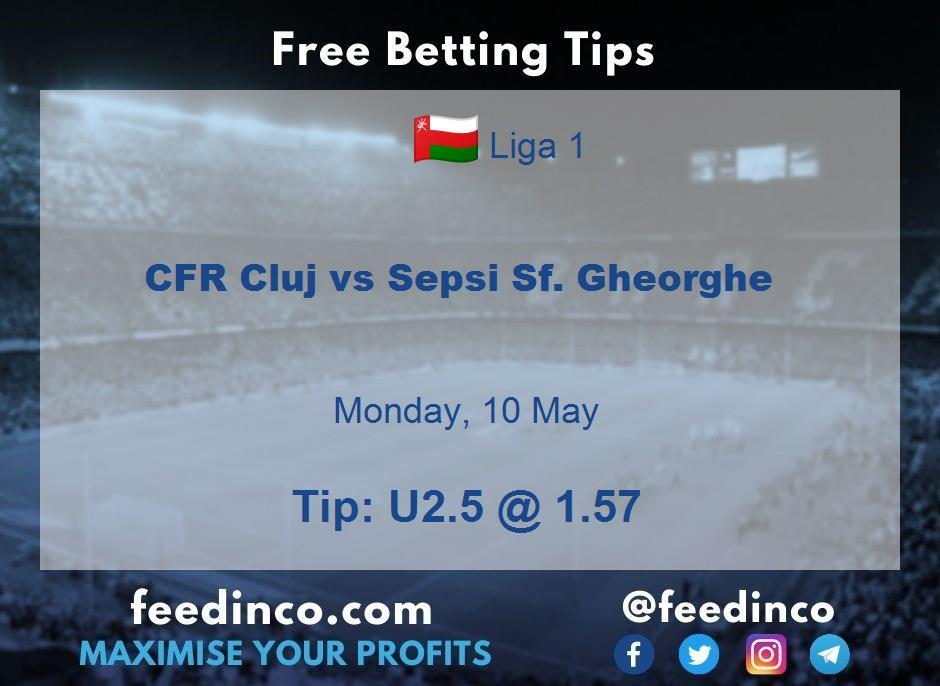 CFR Cluj vs Sepsi Sf. Gheorghe Prediction