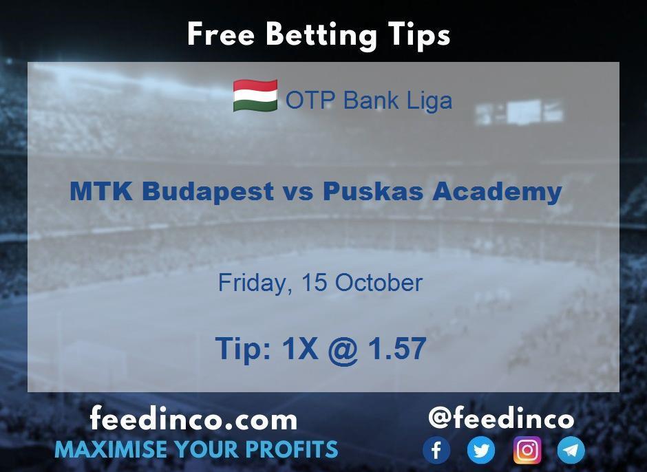 MTK Budapest vs Puskas Academy Prediction