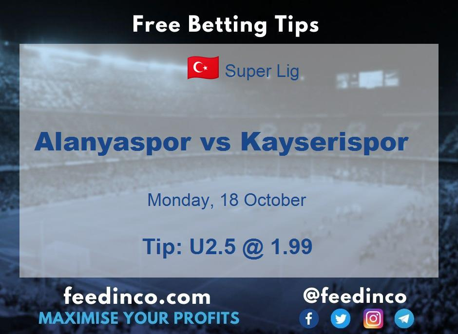 Alanyaspor vs Kayserispor Prediction