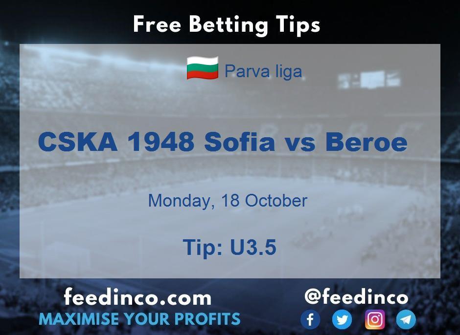 CSKA 1948 Sofia vs Beroe Prediction