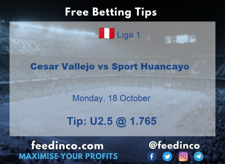 Cesar Vallejo vs Sport Huancayo Prediction
