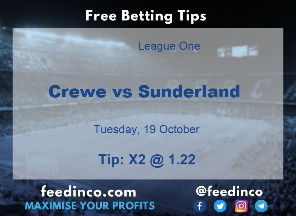 Crewe vs Sunderland Prediction