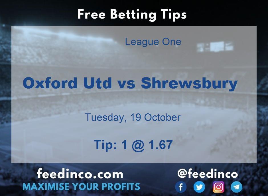 Oxford Utd vs Shrewsbury Prediction
