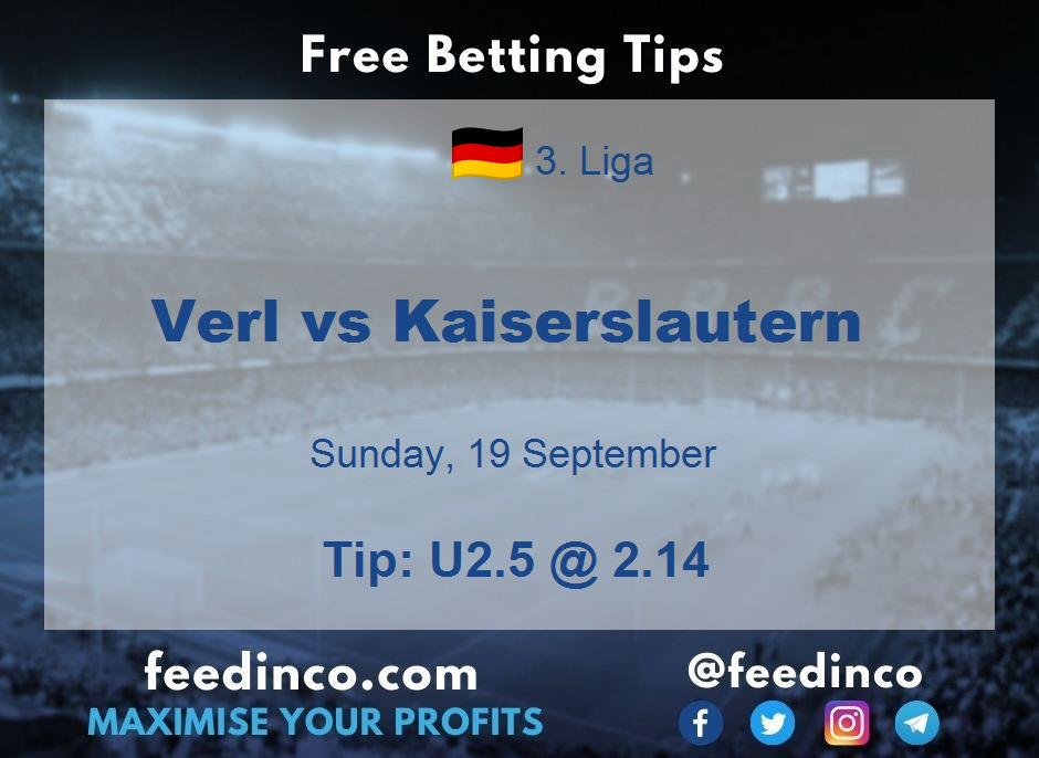 Verl vs Kaiserslautern Prediction