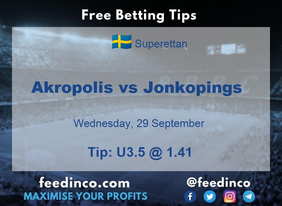Akropolis vs Jonkopings Prediction