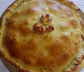 Пирог с лососем и шпинатом: (450)