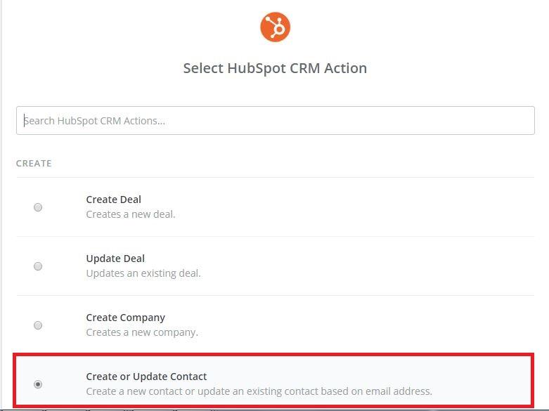 Zapier select Hubspot CRM action screen
