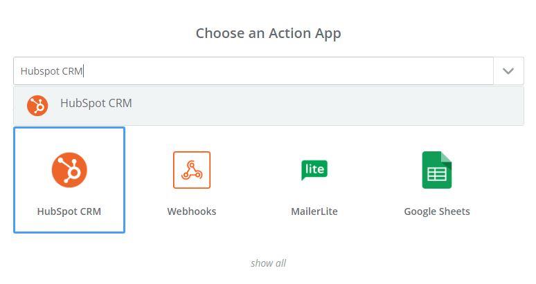 Zapier choose an action app screen