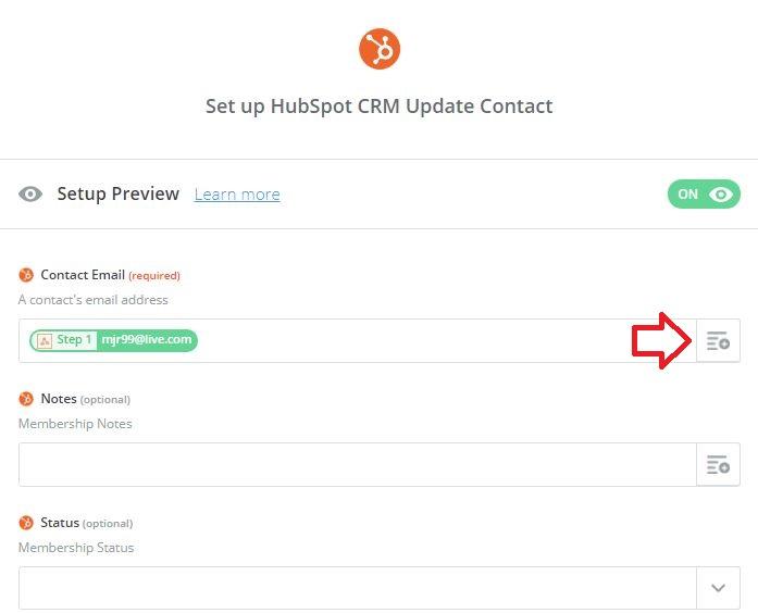 Zapier set up Hubspot CRM Update Contact screen