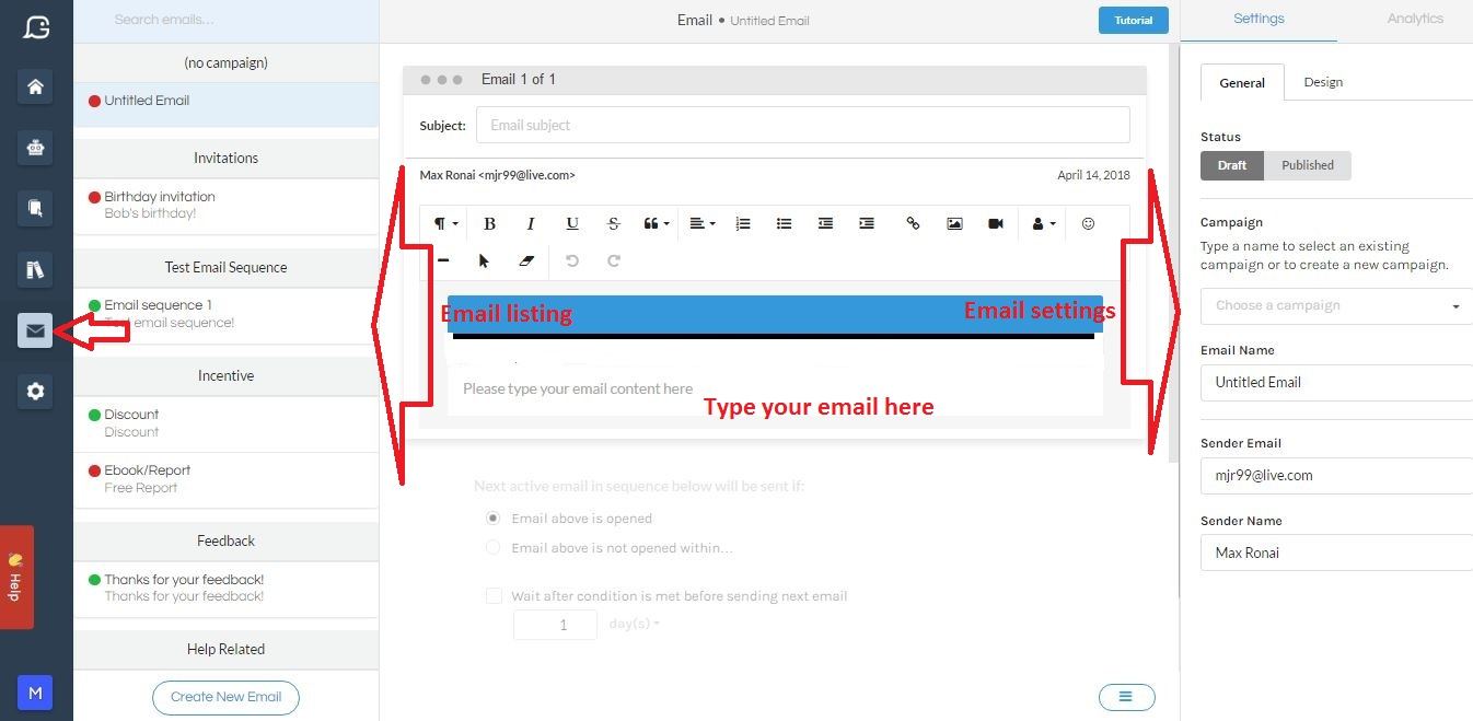 Gobot's email editor can be used to create email and email sequences that can be sent by your chatbot