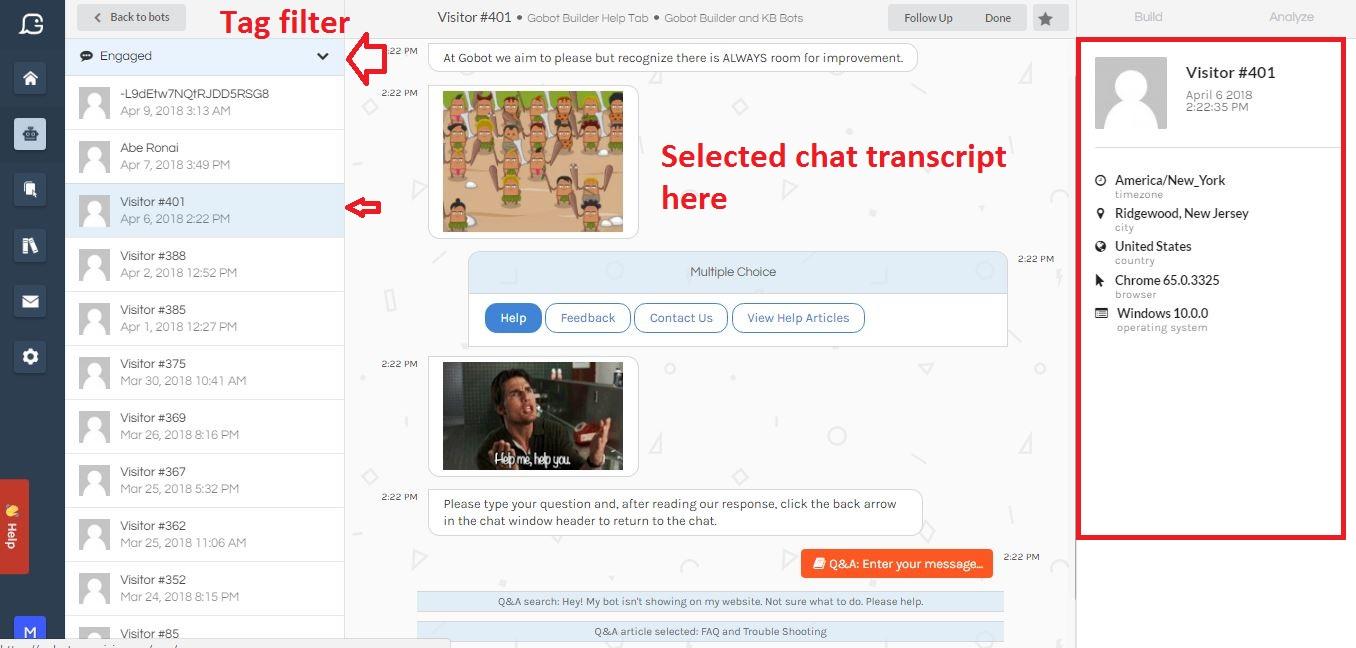 Gobot's transcript mode including tag filtering