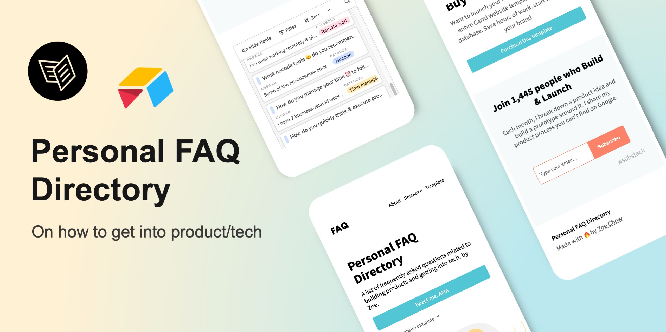 """I Built a """"Personal FAQ"""" Directory on How to Get Into Product/Tech 