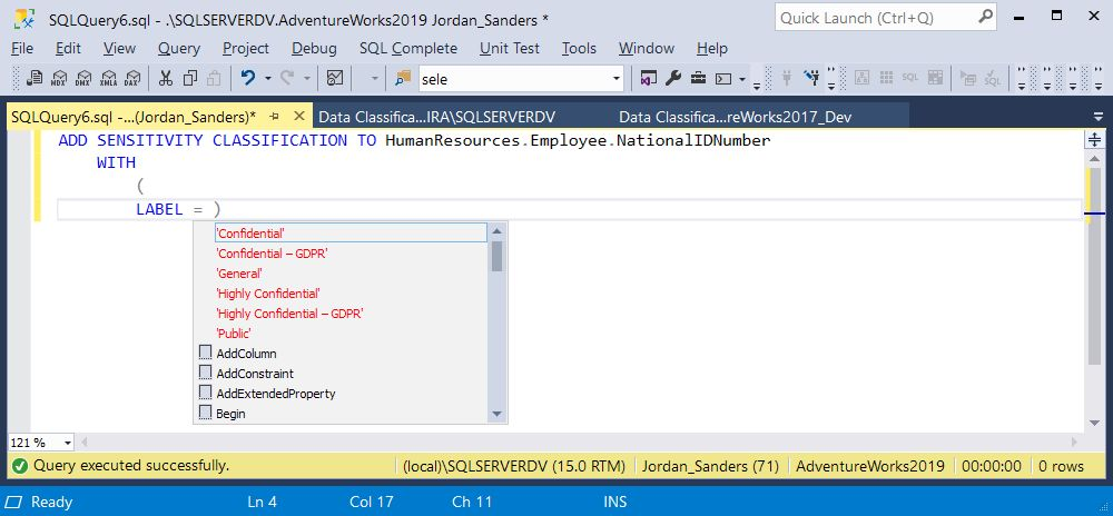 How To Add Data Sensitivity Classification Command in SQL Server 2019