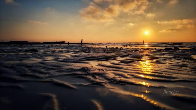 bonet21 en Hamelin: Paisaje  (Cádiz), Puesta de sol desde mi tierra  la bahía de Cádiz   #invierno20