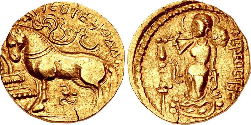 Coins During Samudra Gupta Age | Left : Ashwamedha Sacrifise, Right : Holding Battle Axe