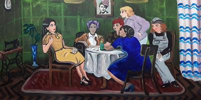 Picture principal - La muestra que retrata a Evita como un personaje de animé