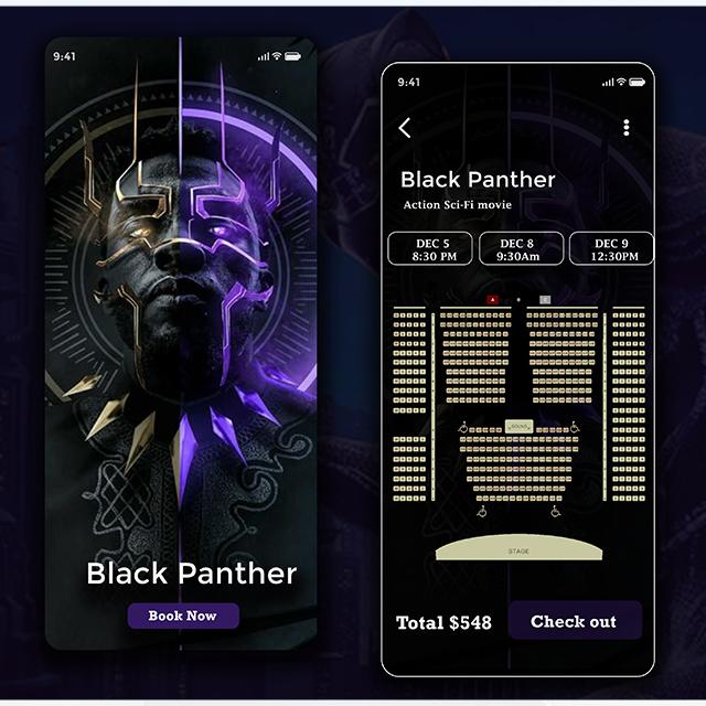 BlackPanther Ticket Booking Design App