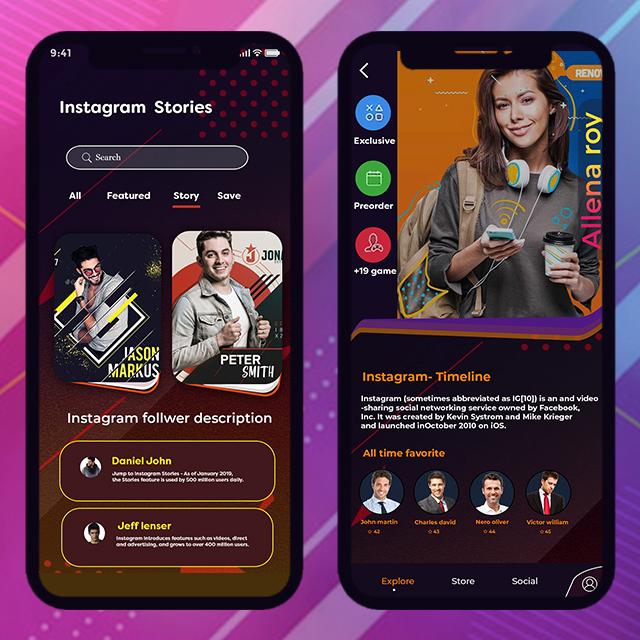 instagram Profile Mobile App UI