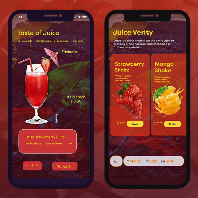 Shakes Cafe Mobile App UI