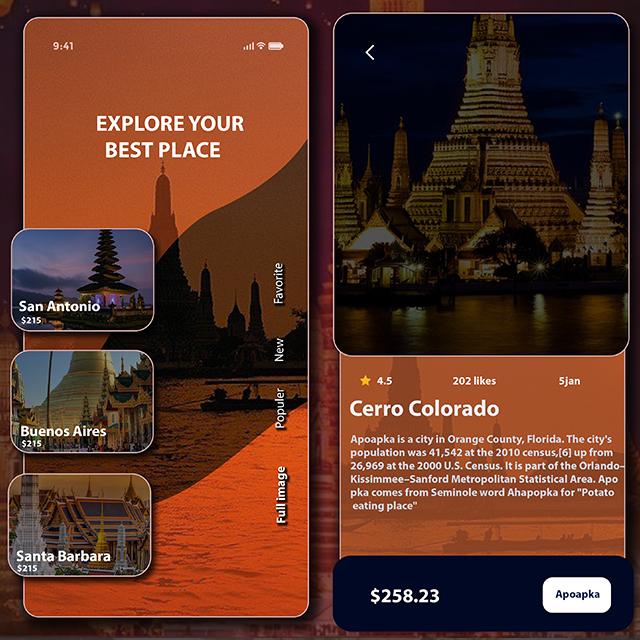 Travel Destination Listing UI