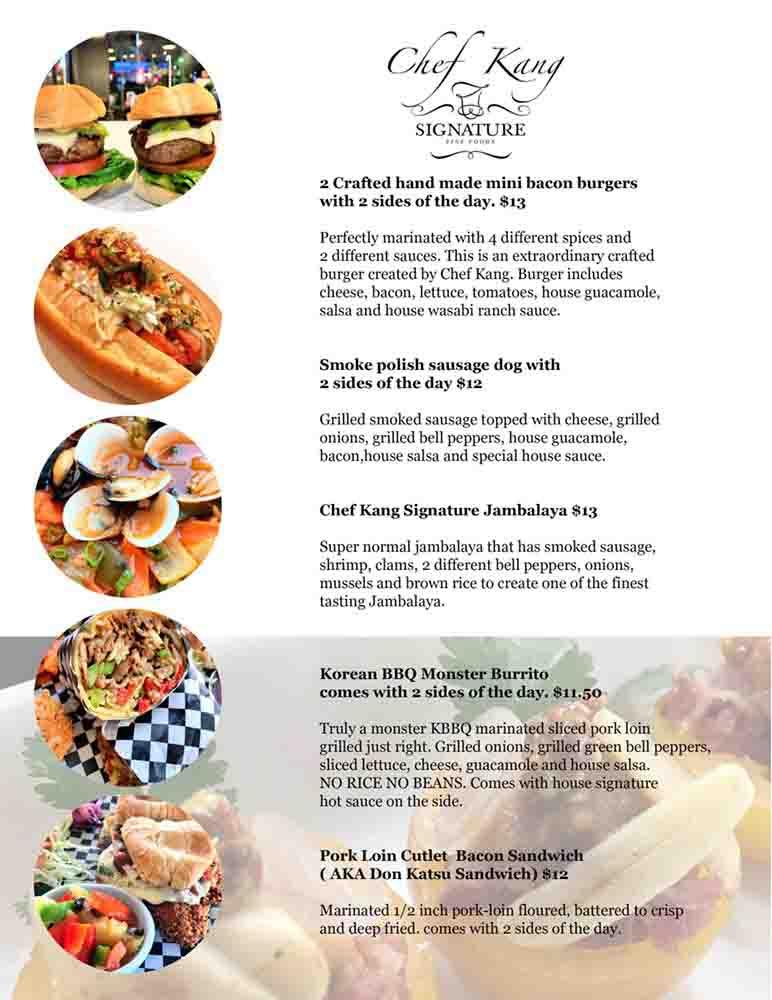 Chef Kang Food Rehab 메뉴