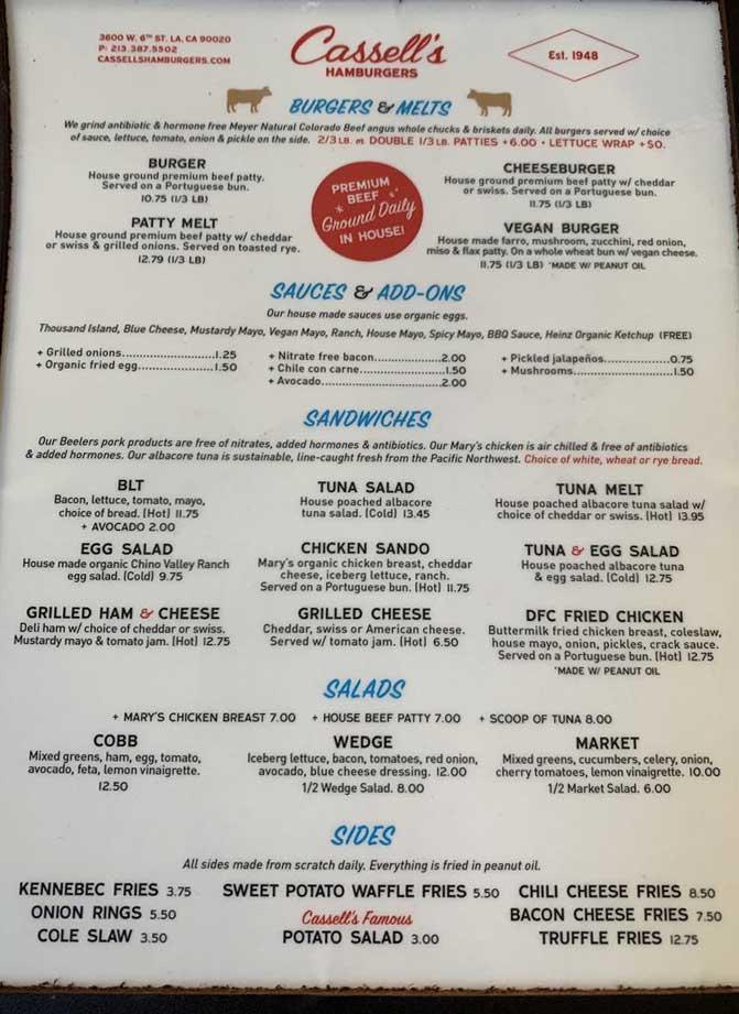 Cassell's Hamburgers 메뉴