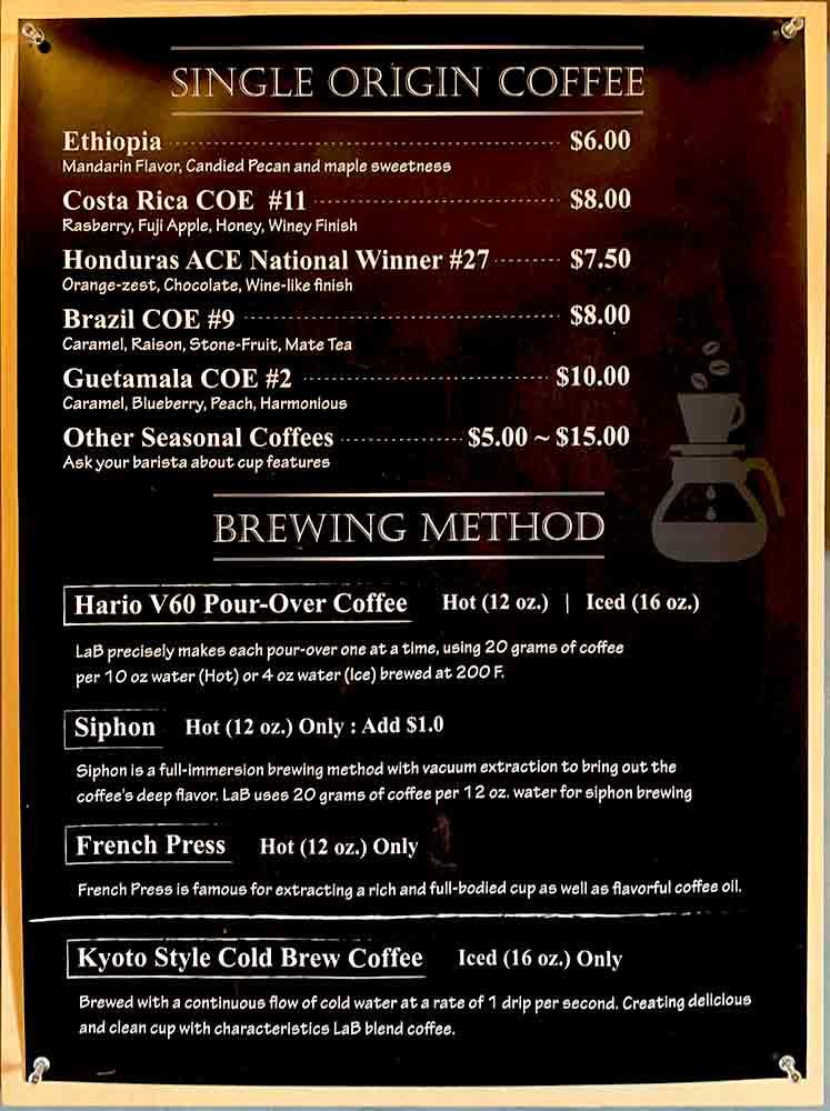 LaB Coffee & Roasters 메뉴