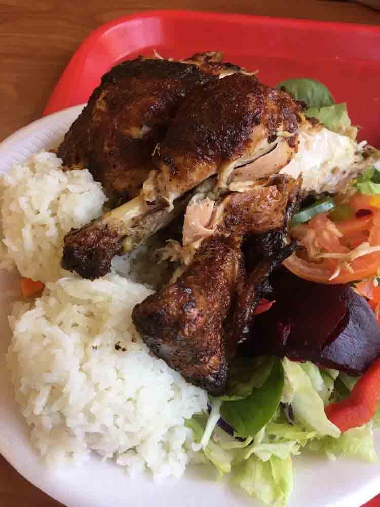 Pollo a La Brasa Rotisserie Chicken (Rice & Salad)