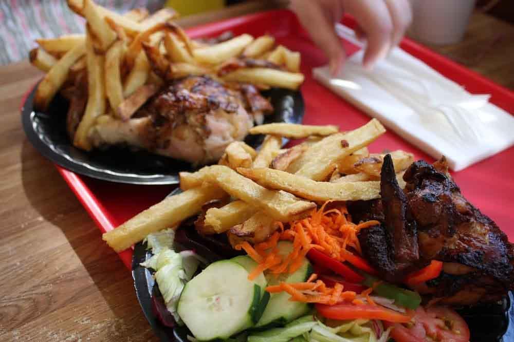 Pollo a La Brasa Rotisserie Chicken (with Salad & Fries)