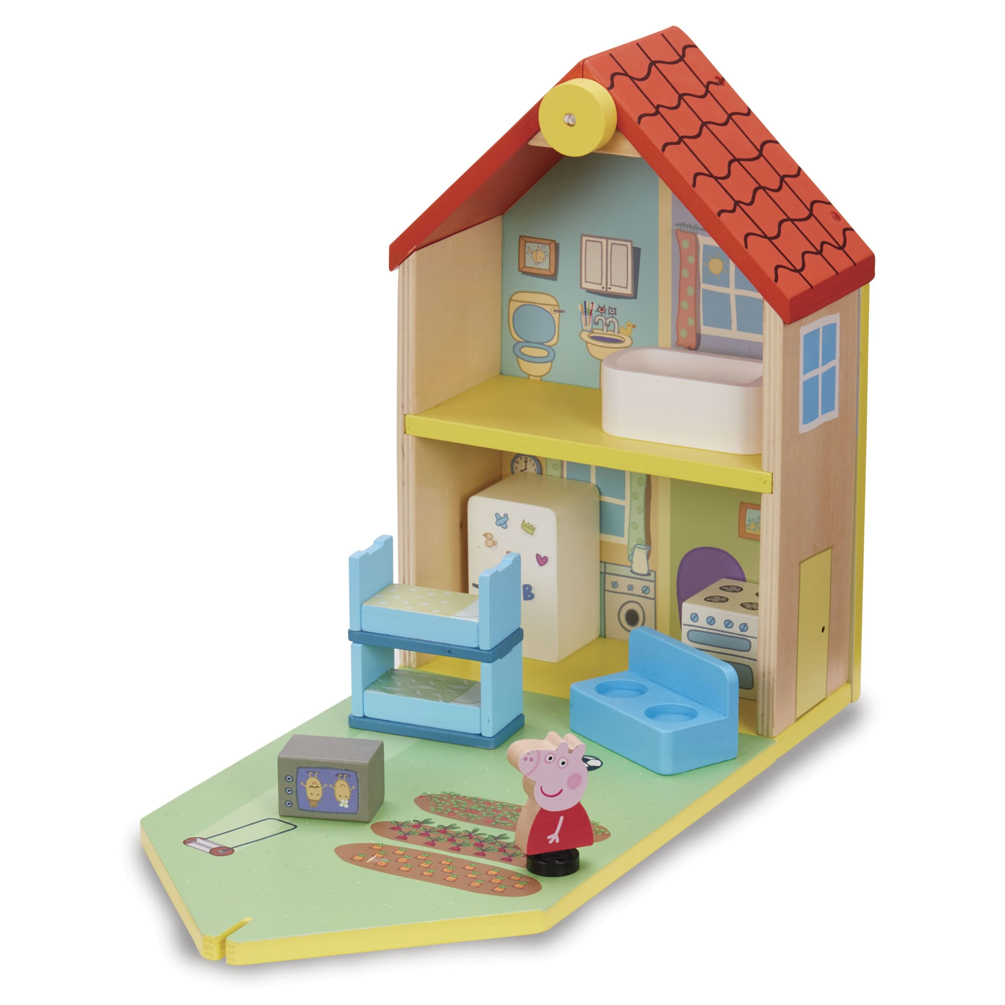 Gurli Gris - Dukkehus i Træ med figur og møbler