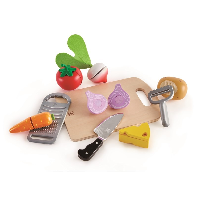 Legemad Grøntsager med skærebræt og kniv