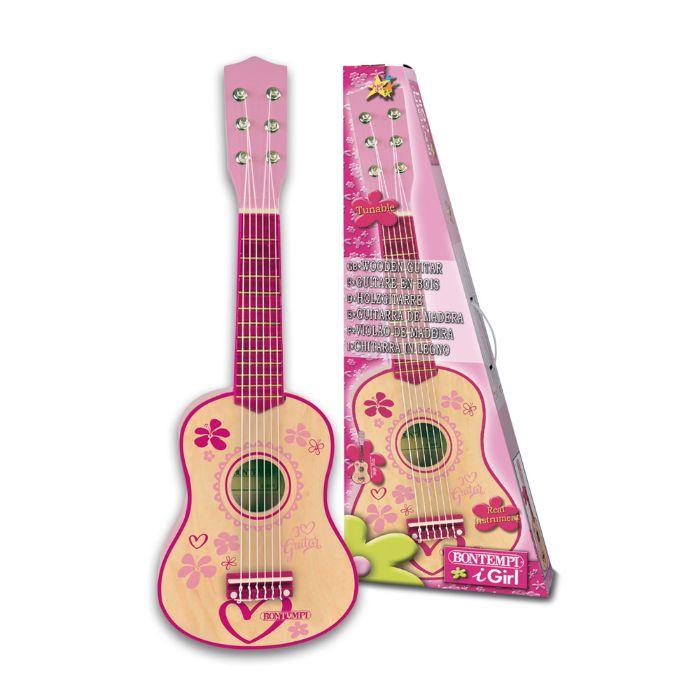 Lyserød guitar i træ