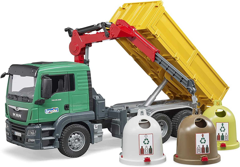 MAN TGS Lastbil med lastekran og 3 genbrugscontainere