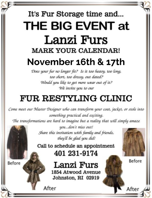 Lanzi Furs styling event November 16th & 17th