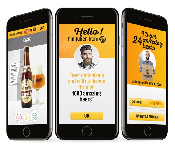 Three smart phones, each showing different screens from the ABinBev app project