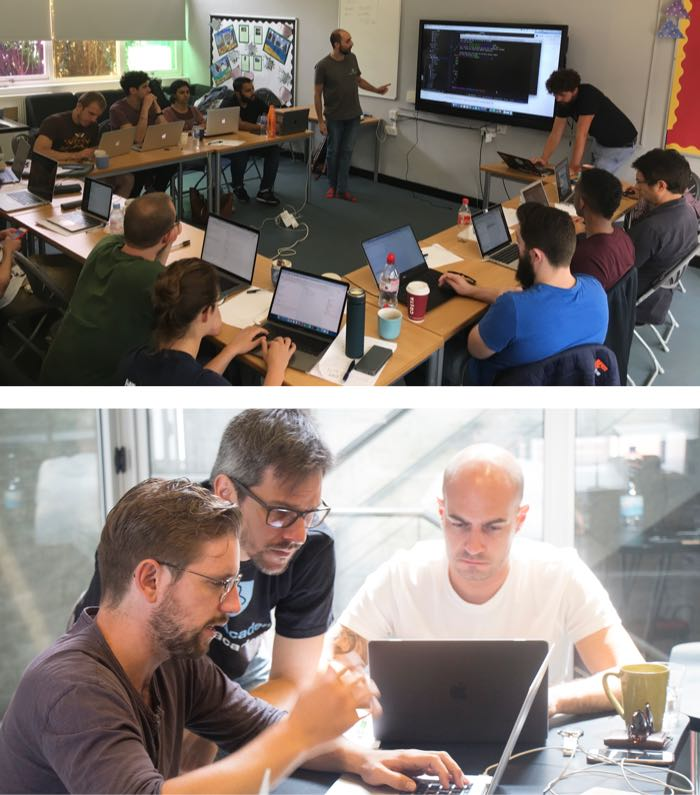 Two images of our ReactJS training sessions where our coaches are presenting to the entire class and answering questions from individual students