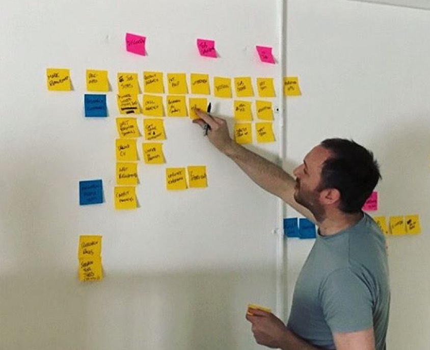 UX designer Paul, grouping post-it notes on a wall to find patterns
