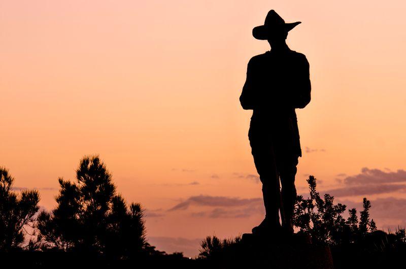 Silhouette of a park ranger