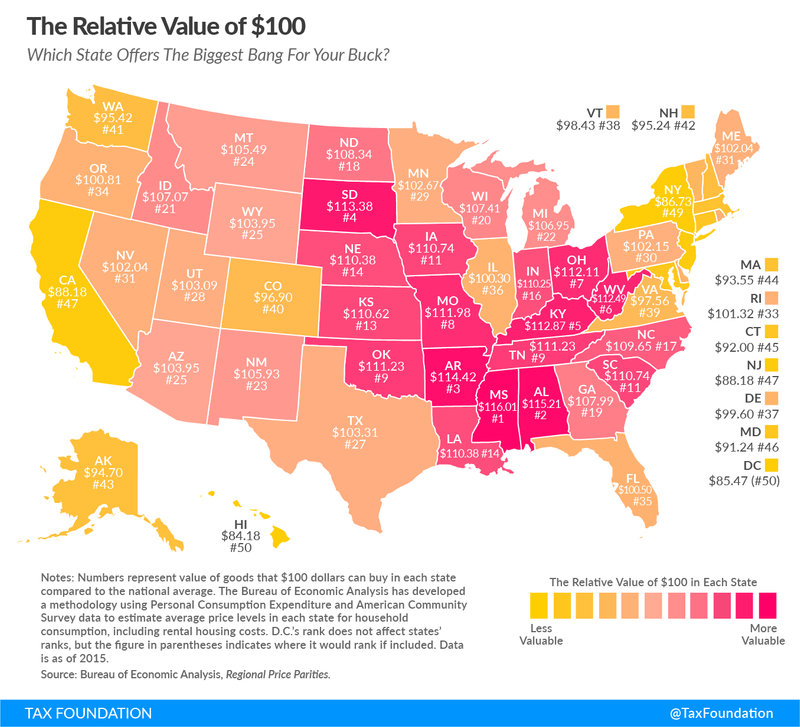 A map showing each US state's average annual cost of living