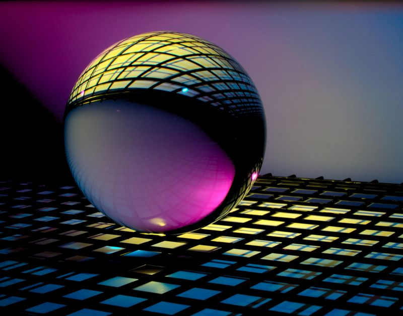 glass sphere on grid