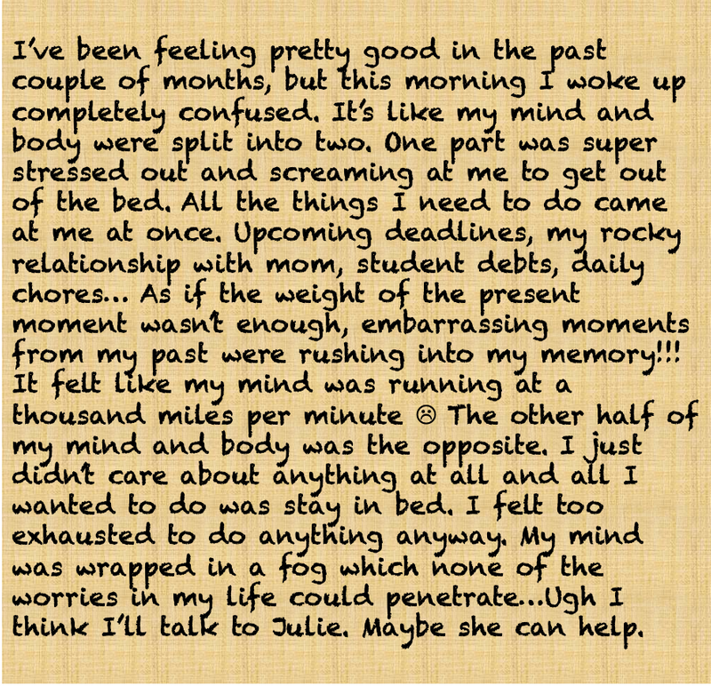 a long paragraph where a person writes down their daily thoughts