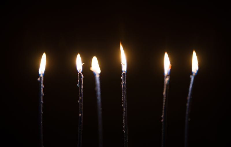 Birthday candles in the dark.