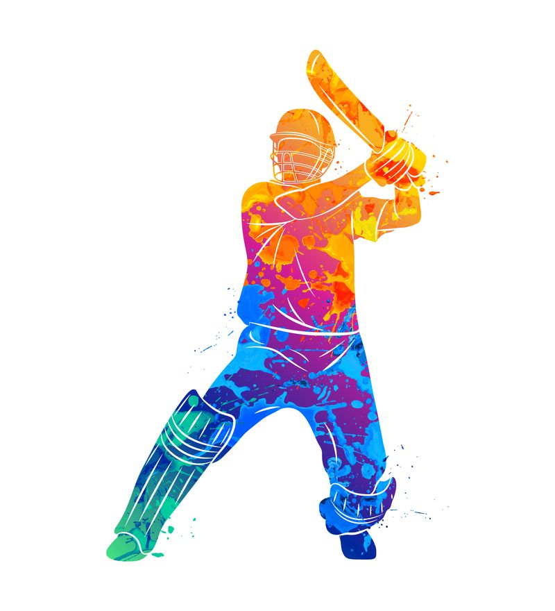 A rainbow colored image of a cricket batter