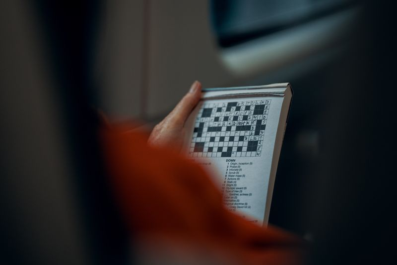 A person has a crossword puzzle book in their hand